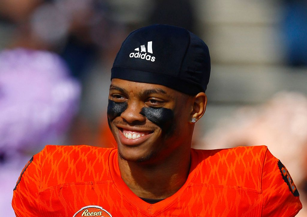FILE - In this Jan. 26, 2019, file photo, North safety Nasir Adderley of Delaware (23) smiles before the start of the Senior Bowl college football game, in Mobile, Ala. Adderley is a possible pick in the 2019 NFL Draft. (AP Photo/Butch Dill, File)