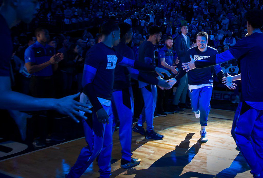 Dallas Mavericks forward Luka Doncic takes the court for an NBA basketball game against the Milwaukee Bucks at American Airlines Center on Friday, Feb. 8, 2019, in Dallas. (Smiley N. Pool/The Dallas Morning News)