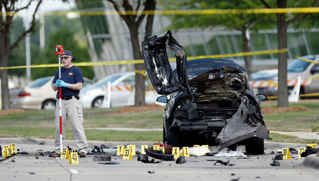 FBI crime scene investigators documented evidence outside the Curtis Culwell Center in Garland on May 4, 2015.