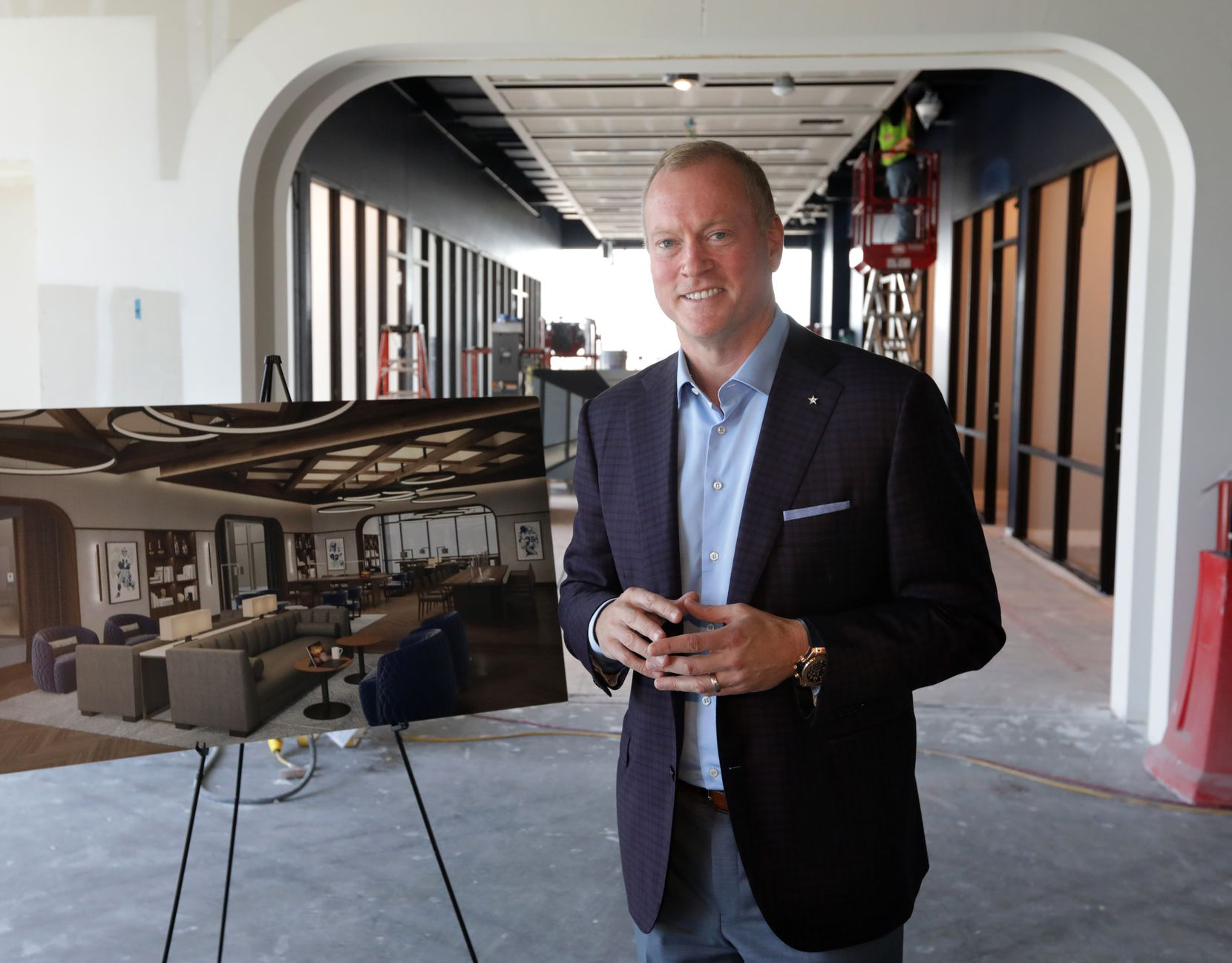 Jerry Jones, Jr. shows off the new coworking space at the Dallas Cowboys' Star development in Frisco.
