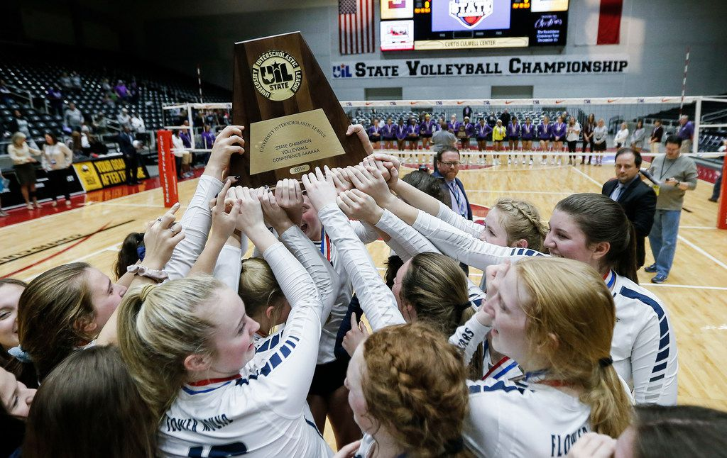 Flower Mound celebrates winning the Class 6A volleyball state championship match against Ridge Point at the Curtis Culwell Center in Garland, Saturday, November 17, 2018. (Brandon Wade/Special Contributor)