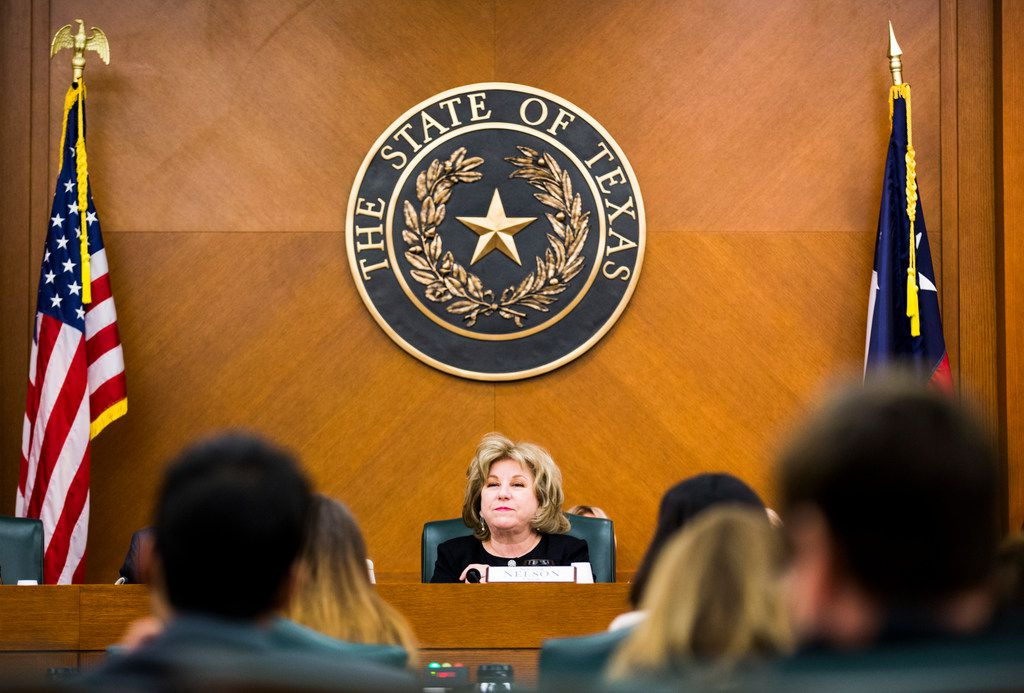 Senator Jane Nelson of Flower Mound listens to public testimony at a senate committee hearing on SB3, which would give teachers a $5,000 pay raise next year, on Monday, February 25, 2019 at the Texas state capital extension in Austin. (Ashley Landis/The Dallas Morning News)
