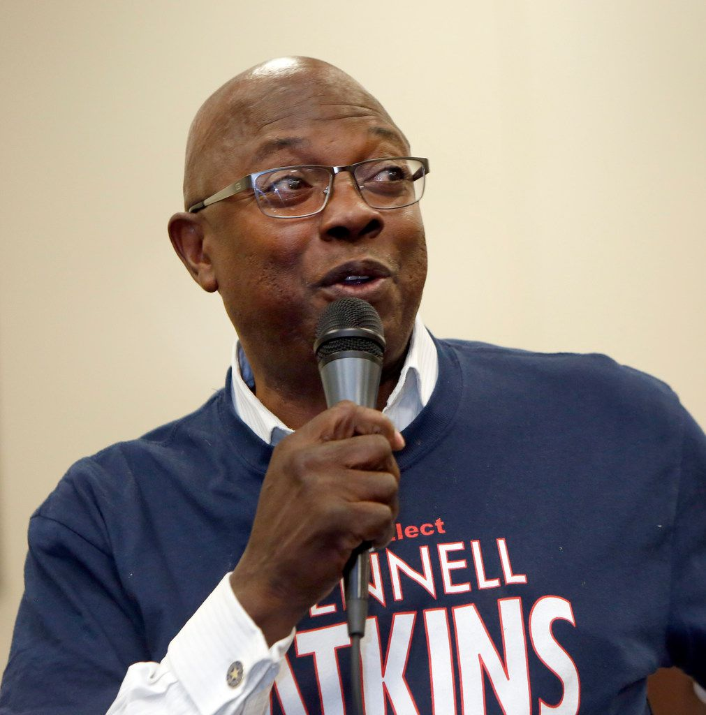 Incumbent Tennell Atkins answers a question posed to him and to his opponent, Erik Wilson, during a forum, which drew a crowd of supporters for the candidates. The forum, which featured the two candidates running for Dallas City Council District 8, was held at the Friendship-West Baptist Church in Dallas on April 4, 2019.