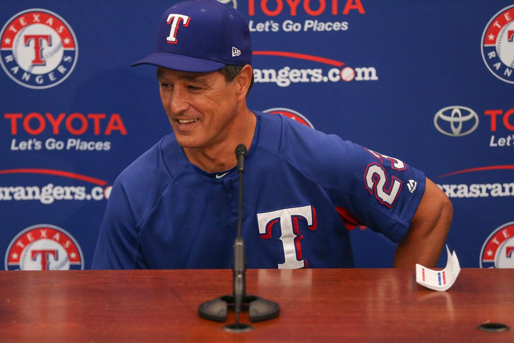 Don Wakamatsu, who has been named interim manager of the Texas Rangers, addresses members of the media following the dismissal of Manager Jeff Banister on Friday, Sept. 21, 2018 at Globe Life Park in Arlington, Texas. (Ryan Michalesko/The Dallas Morning News)