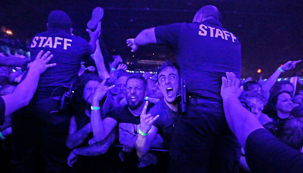 Fans of Slayer get worked up in the front rowas Slayer performs in concert at the Bomb Factory in Dallas, photographed on Tuesday, June 19, 2018. (Louis DeLuca/The Dallas Morning News)