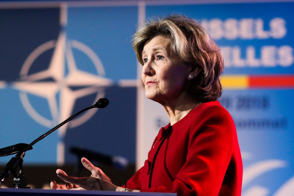 """Kay Bailey Hutchison, the former U.S. senator from Texas,  said she's """"very happy"""" in her current role as U.S. ambassador to NATO. """"I feel so strongly about America and our leadership in NATO that I would take myself out of a U.N. position,"""" she said."""