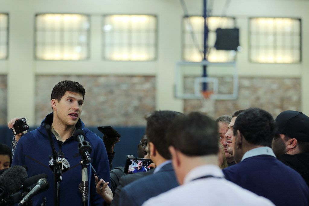 Dallas Mavericks small forward Doug McDermott while speaking to the media following the conclusion of the National Basketball Association 2017-2018 regular season at the American Airlines Center practice court in Dallas Wednesday April 11, 2018. The Mavericks finished their season 24-58. The Mavericks ranked 13th in the Western Conference. (Andy Jacobsohn/The Dallas Morning News)