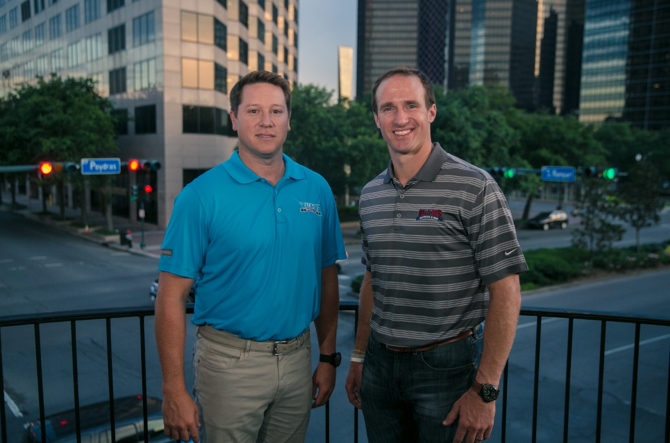 Co-founder Brandon Landry (left) and co-owner Drew Brees (you know him). The NFL Super Bowl champion bought into Walk-On's Bistreaux and Bar in 2015.