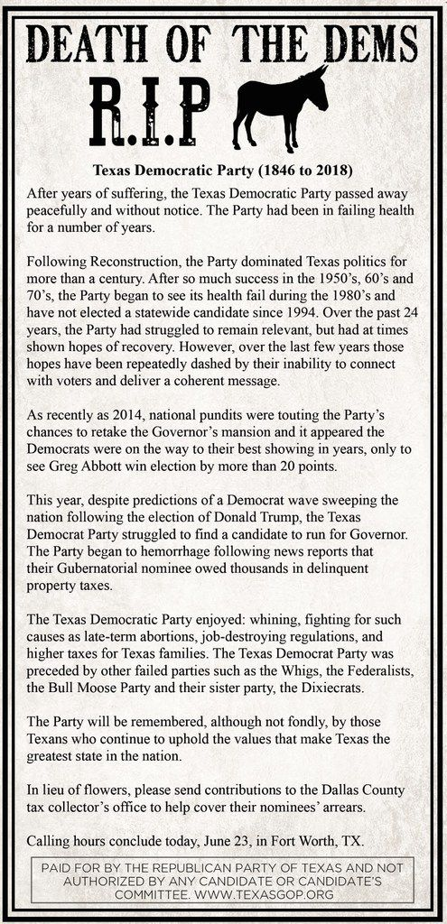 The Republican Party of Texas is running an ad designed to look like an obituary in The Fort Worth Star-Telegram in Fort Worth, Texas, on Friday, June 22, 2018, to poke fun at the Texas Democratic Party.