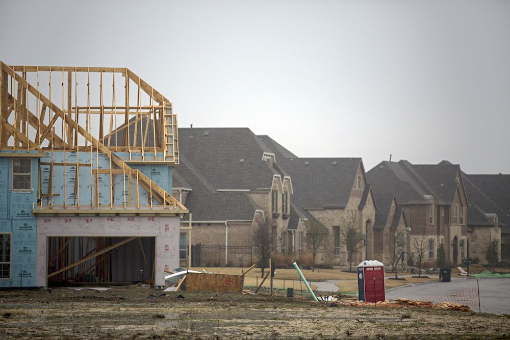 New home construction in Phillips Creek Ranch photographed Thursday, January 7, 2016 in Frisco, Texas. (G.J. McCarthy/The Dallas Morning News)