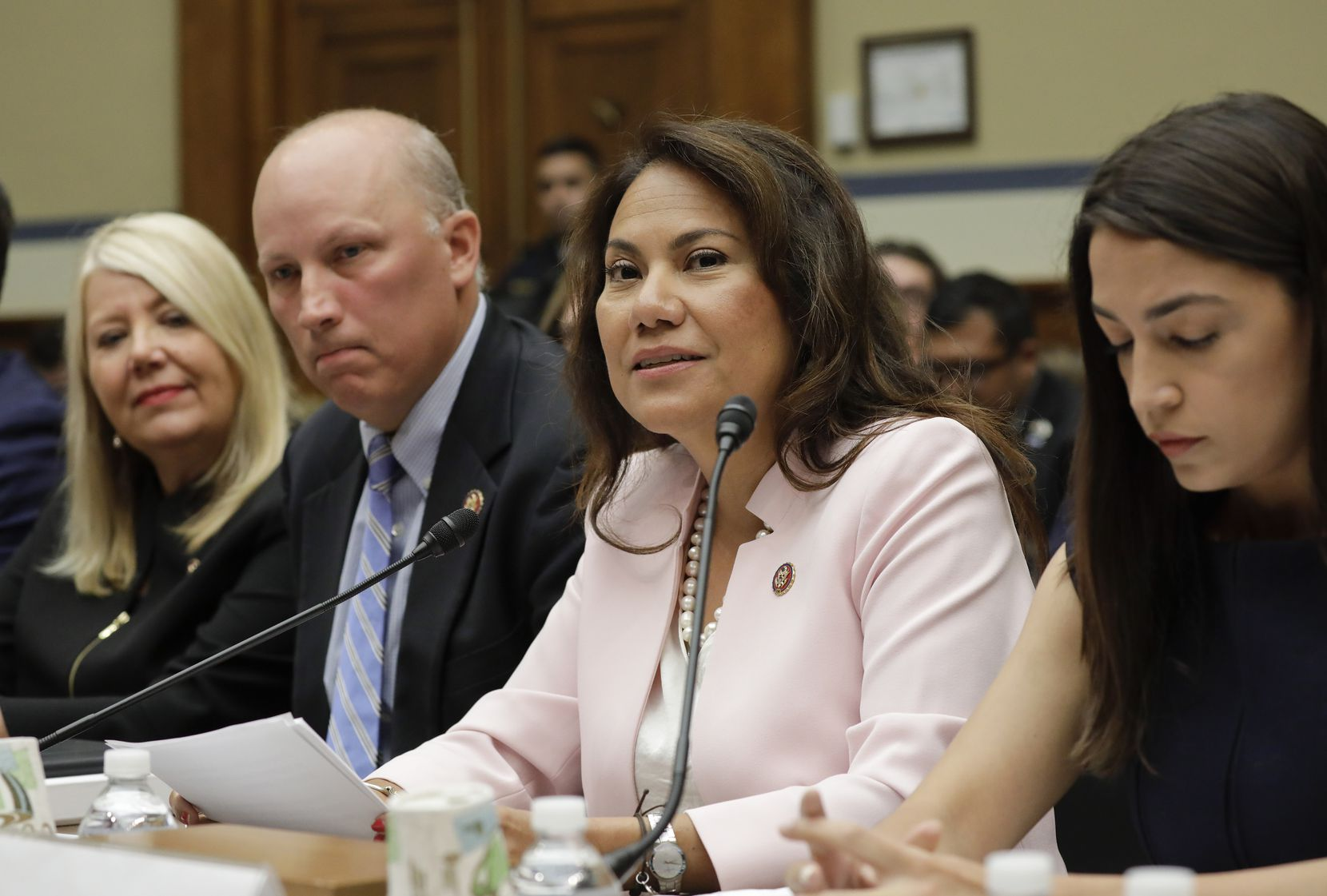 Rep. Veronica Escobar, D-Texas, second from the right, testifies before the House Oversight Committee hearing on family separation and detention centers, Friday, July 12, 2019 on Capitol Hill in Washington. Also on the panel are from l-r., Rep. Debbie Lesko, R-Ariz., Rep. Chip Roy, R-Texas and Rep. Alexandria Ocasio-Cortez, D-N.Y. (AP Photo/Pablo Martinez Monsivais)