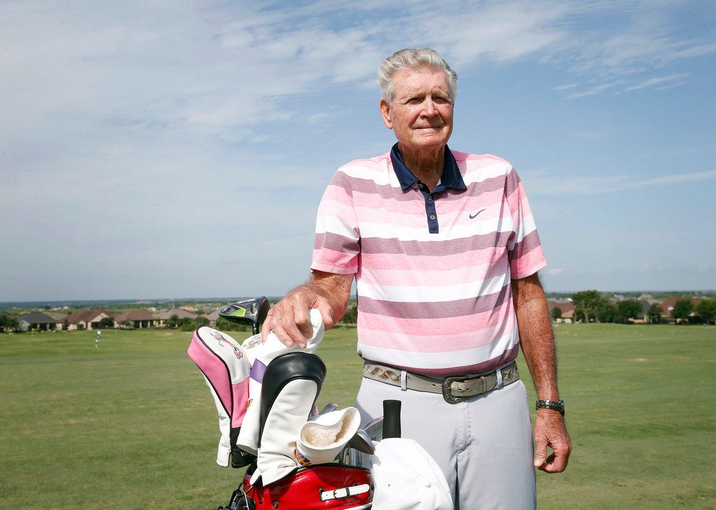 Raymond Hibler posed for a portrait at Wildhorse Golf Club in Denton on July 2, 2019. Hibler, now 88 years old, broke his age by 16 strokes at Wildhorse Golf Club in June when he was 87.