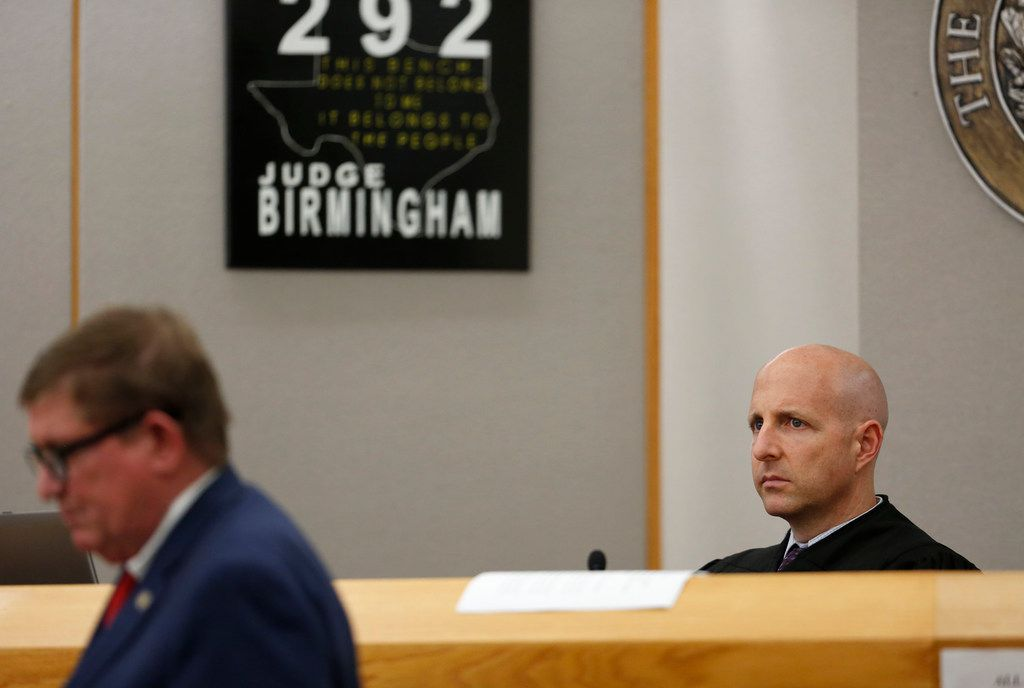 Judge Brandon Birmingham listens to closing arguments during the punishment phase of Roy Oliver's murder trial. (Rose Baca/Staff Photographer)