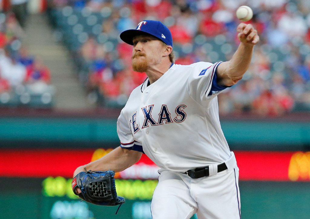 Texas Rangers relief pitcher Jake Diekman (41) throws a ninth-inning pitch during the Toronto Blue Jays vs. the Texas Rangers major league baseball ALDS Game 1 at Globe Life Park in Arlington on Thursday, October 6, 2016. (Louis DeLuca/The Dallas Morning News)