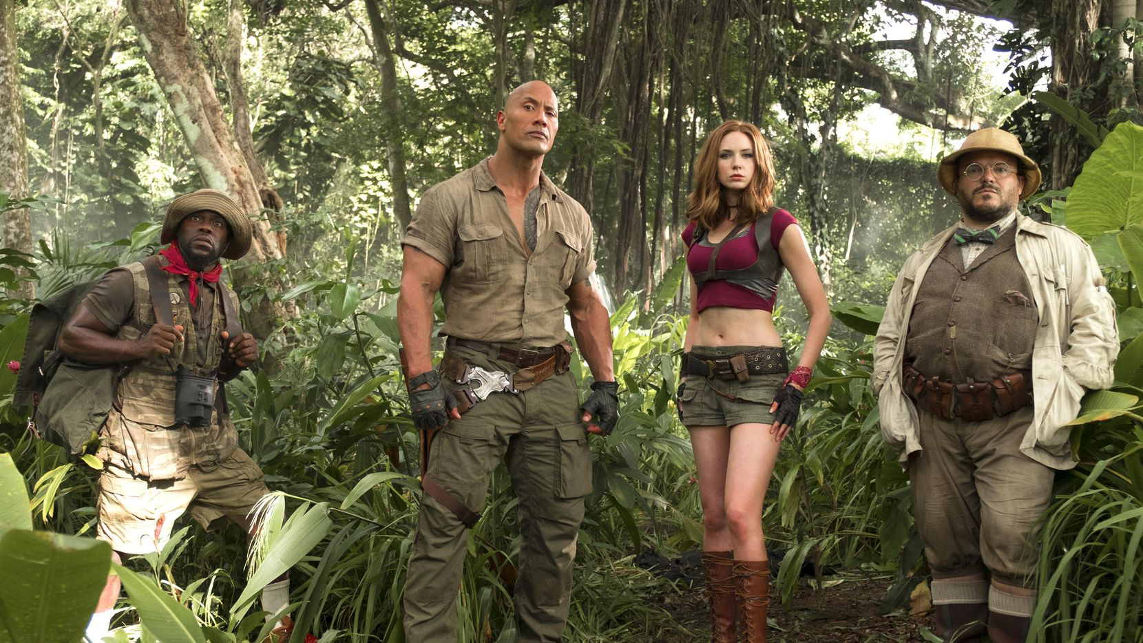 "Kevin Hart, Dwayne Johnson, Karen Gillan y Jack Black en una escena de ""Jumanji: Welcome to the Jungle"".(SONY PICTURES)"
