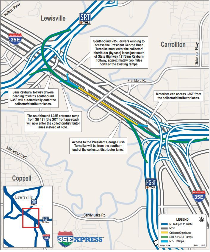 A look at the collector-distributor lanes opening along southbound I-35E this weekend. (North Texas Tollway Authority)