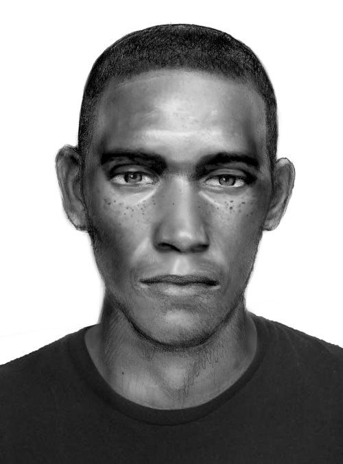 A sketch of a man wanted in connection with at least three burglaries at Denton apartment complexes.