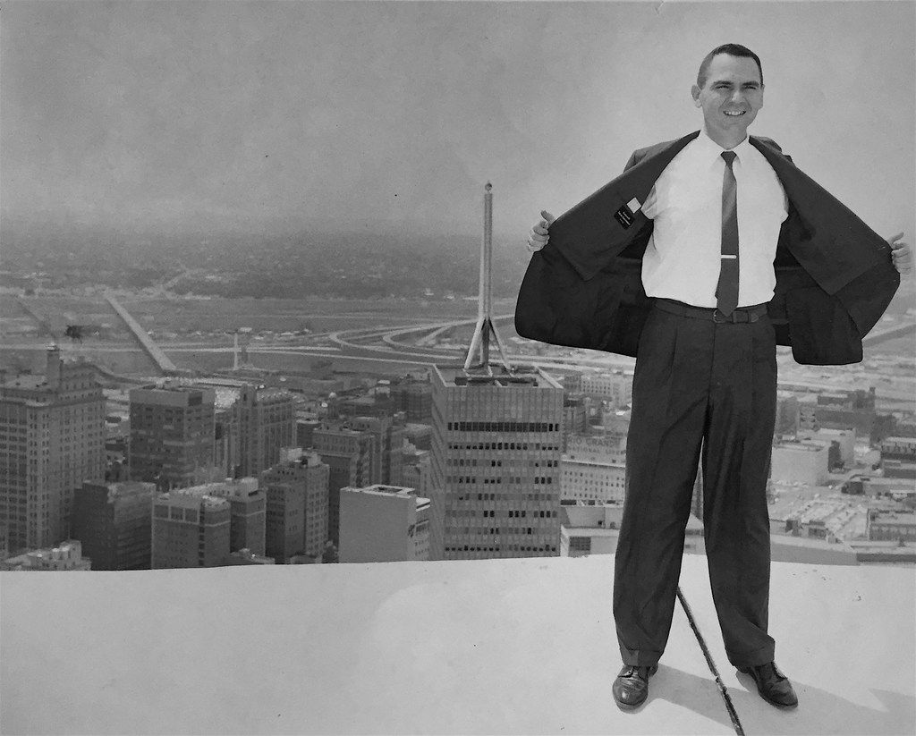 Robert Compton, better known as Bob Compton, former books editor for 'The Dallas Morning News,' in an undated photo on top of a building in downtown Dallas.