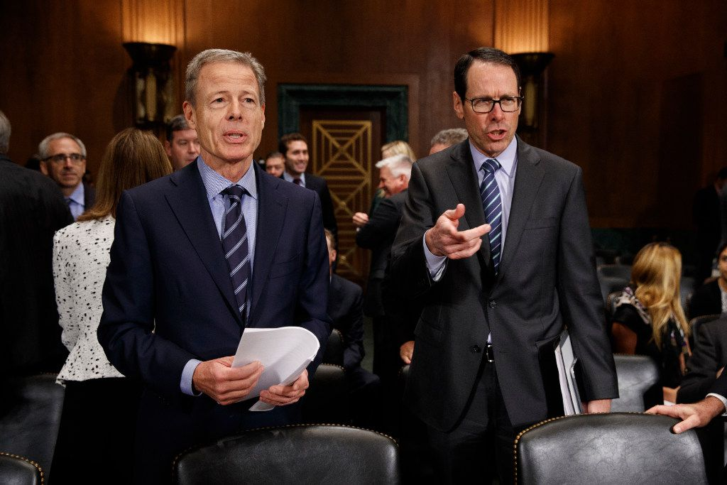 AT&T chairman and CEO Randall Stephenson (right) and Time Warner chairman and CEO Jeffrey Bewkes were on Capitol Hill in Washington on Dec. 7, 2016, to testify before a Senate Judiciary subcommittee hearing on the proposed merger between AT&T and Time Warner.