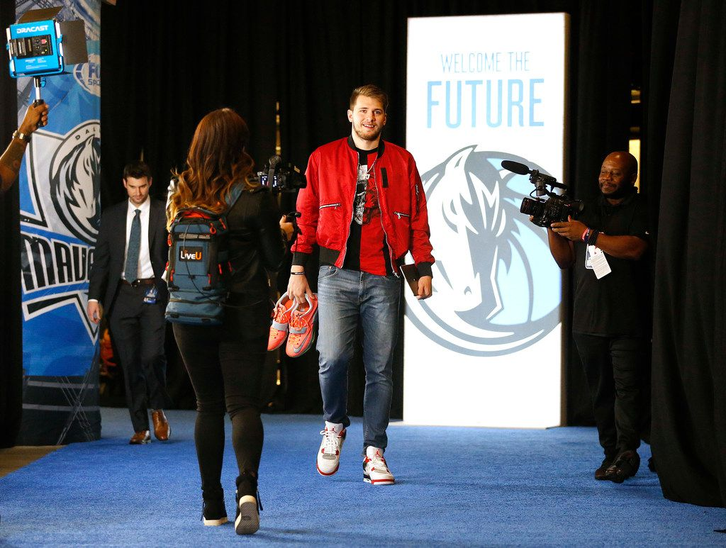 Dallas Mavericks guard Luka Doncic arrives for his first home game at the American Airlines Center in Dallas, Saturday, October 20, 2018. The Mavericks are facing the Minnesota Timberwolves. (Tom Fox/The Dallas Morning News)
