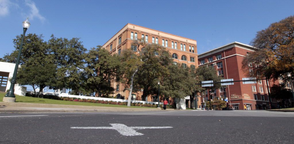 """The new white """"X"""" has been replaced at Dealey Plaza after the 50th-anniversary commemoration of John F. Kennedy's assassination. The new white X, marks the spot where JFK was shot on Elm Street in front of the former Texas School Book Depository.  Shot on Tuesday, November 26, 2013."""