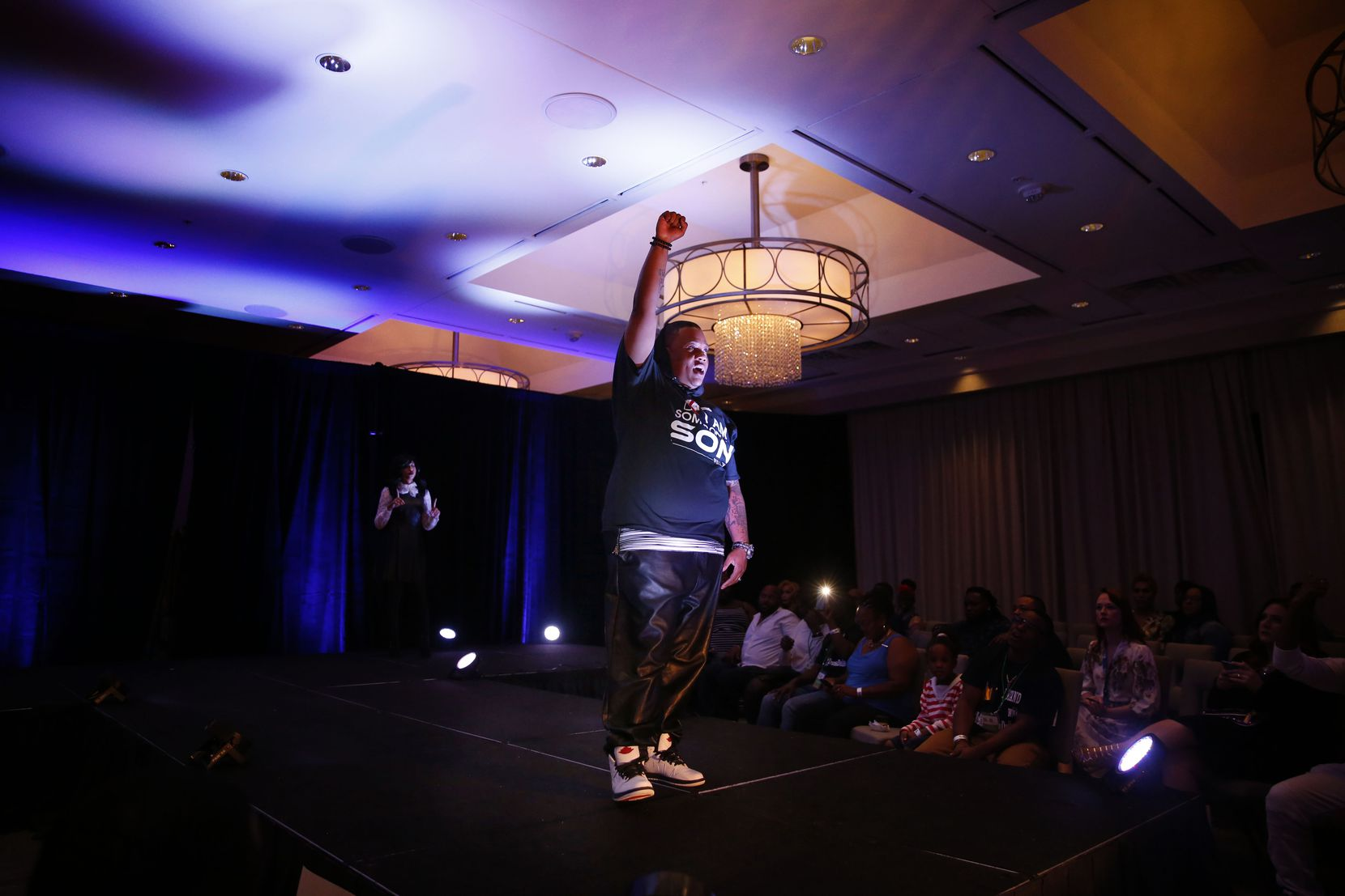 """Trenton Johnson lip-syncs to """"Glory"""" for the talent portion of the Mr. and Miss Black Trans International Pageant at the Dallas/Addison Marriott Quorum by the Galleria in Dallas on Thursday, April 28, 2017."""