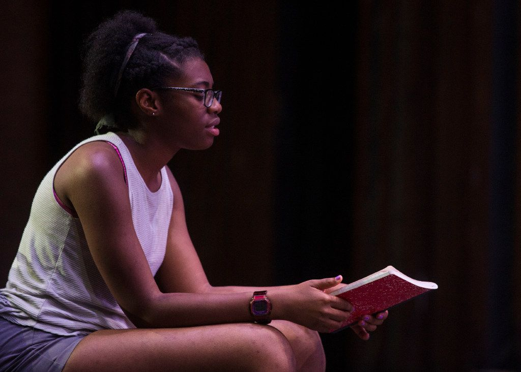 Trinity Gordon runs through her lines during rehearsal at Eastfield.