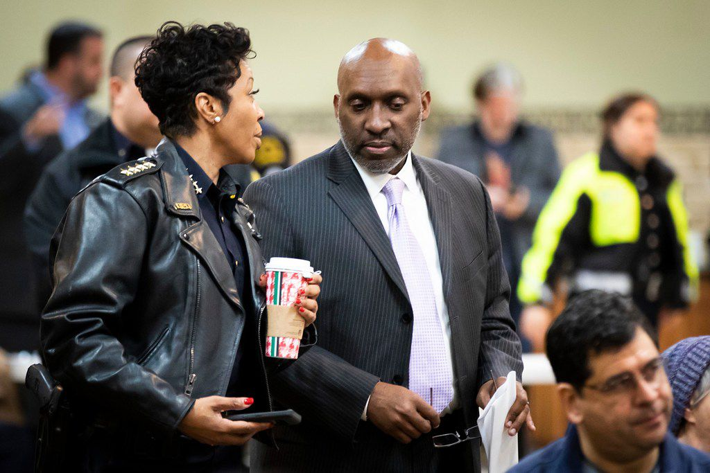 Dallas Police Chief U. Renee Hall (left) appeared with Dallas City Manager T.C. Broadnax at a Citizens Police Review Board town hall meeting at Highland Oaks Church of Christ earlier this year.