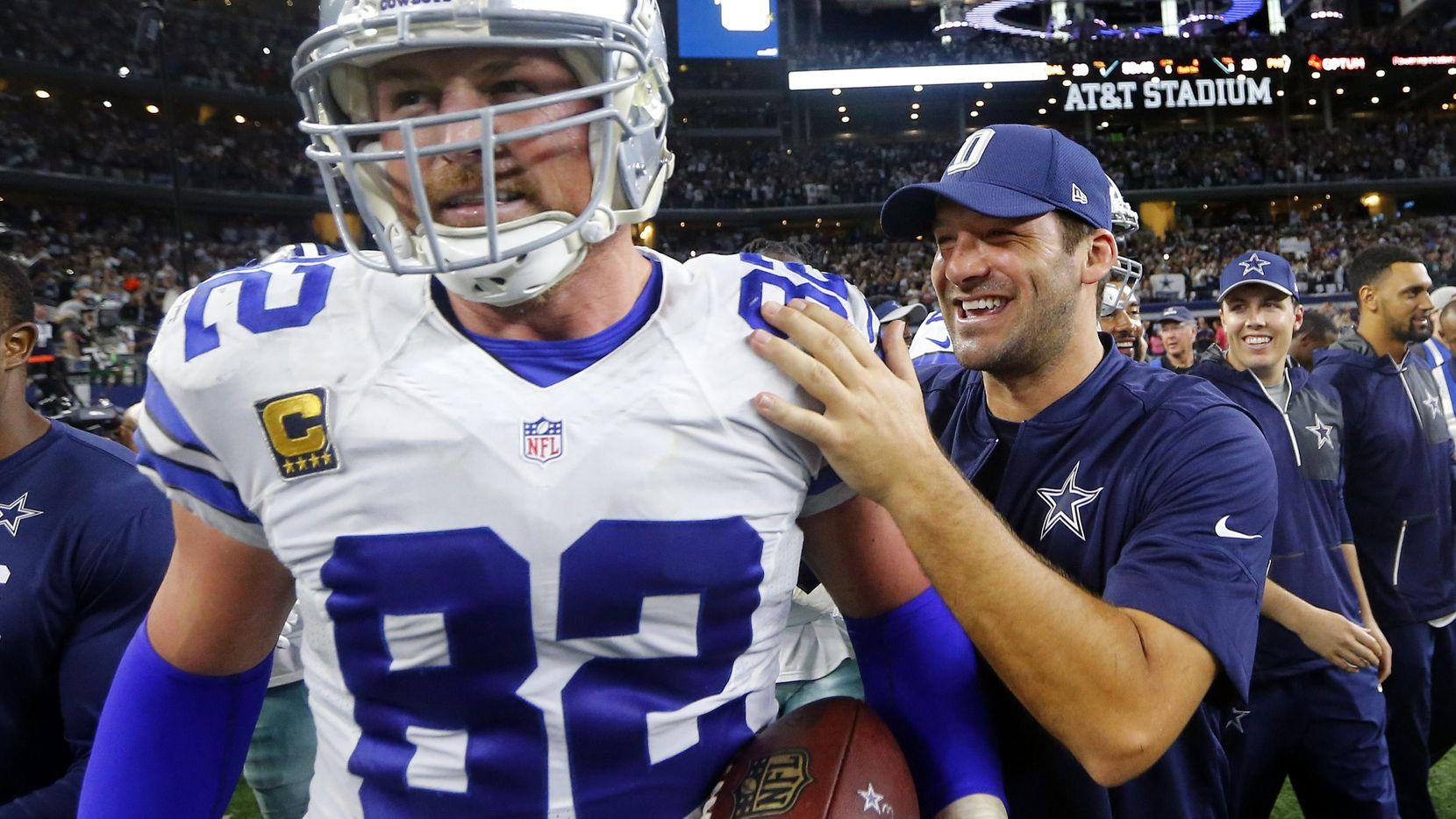 Jason Witten (izq.) y Tony Romo fueron compañeros en los Cowboys de 2003 a 2016. (DMN/Tom Fox)