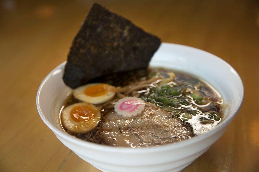 Niboshi Shoyu Ramen with a seasoned egg