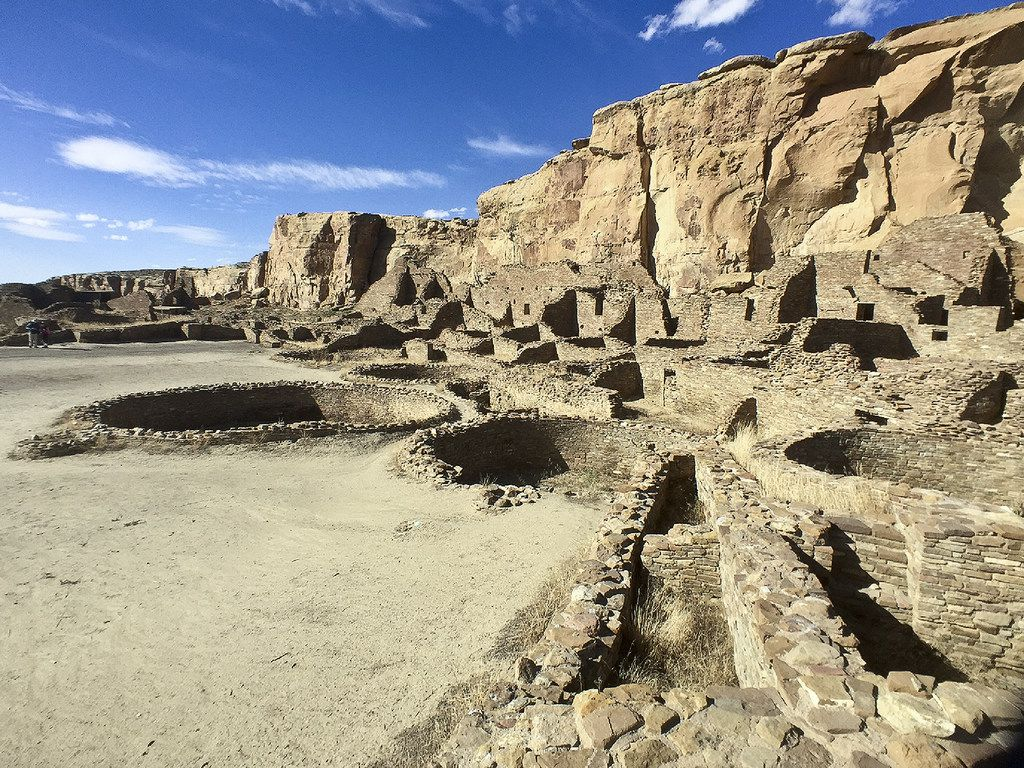 Kivas, round underground ceremonial spaces, dot Pueblo Bonito and other sites in Chaco Canyon, New Mexico.