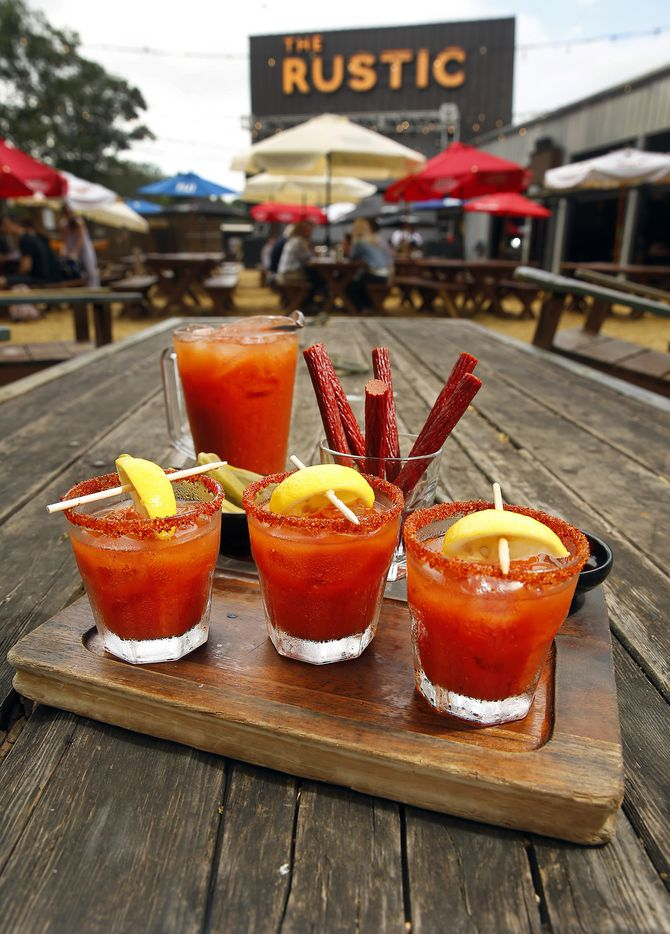 The Rustic on Howell St. in Dallas serves house-made Bloody Mary's made with house-pickled okra, Texas beef straws, and Peppadew peppers. The drinks are a part of the Jam 'N Toast brunch menu. (Tom Fox/The Dallas Morning News)