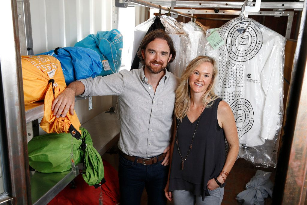 Nathan Watkins the cofounder of University Laundry and his wife Paige Watkins at their business in Dallas on May 12, 2017.  (Nathan Hunsinger/The Dallas Morning News)