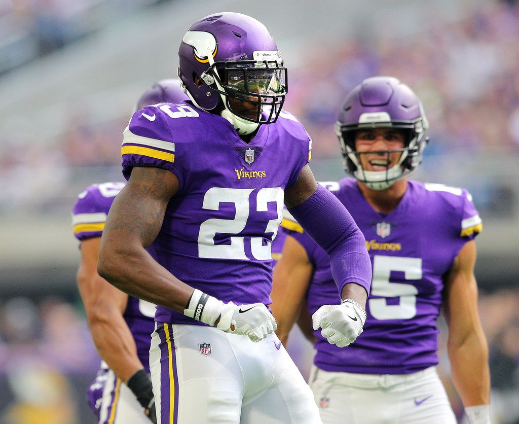 MINNEAPOLIS, MN - OCTOBER 14: George Iloka #23 of the Minnesota Vikings celebrates after making a tackle in the third quarter of the game against the Arizona Cardinals at U.S. Bank Stadium on October 14, 2018 in Minneapolis, Minnesota. (Photo by Adam Bettcher/Getty Images) ORG XMIT: 775192650