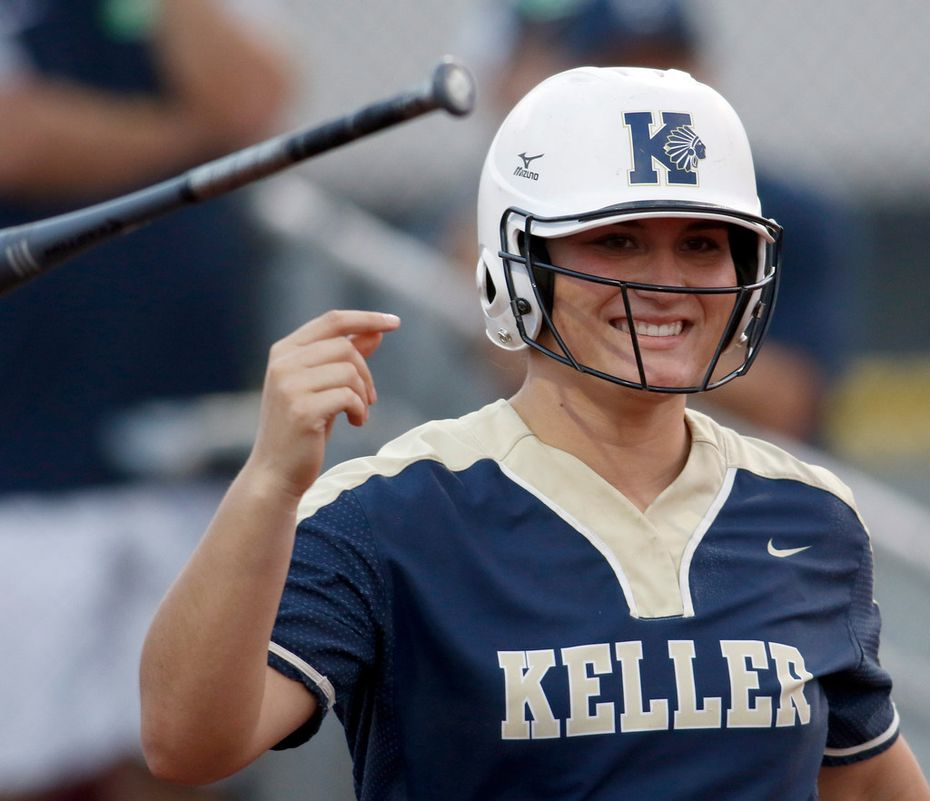 FILE - Keller catcher Hayden Brown (24) smiles as she tosses her bat after drawing a walk in the third inning of a game against Northwest Eaton at Eaton High School in Haslet  on April 5, 2019. (Steve Hamm/ Special Contributor)