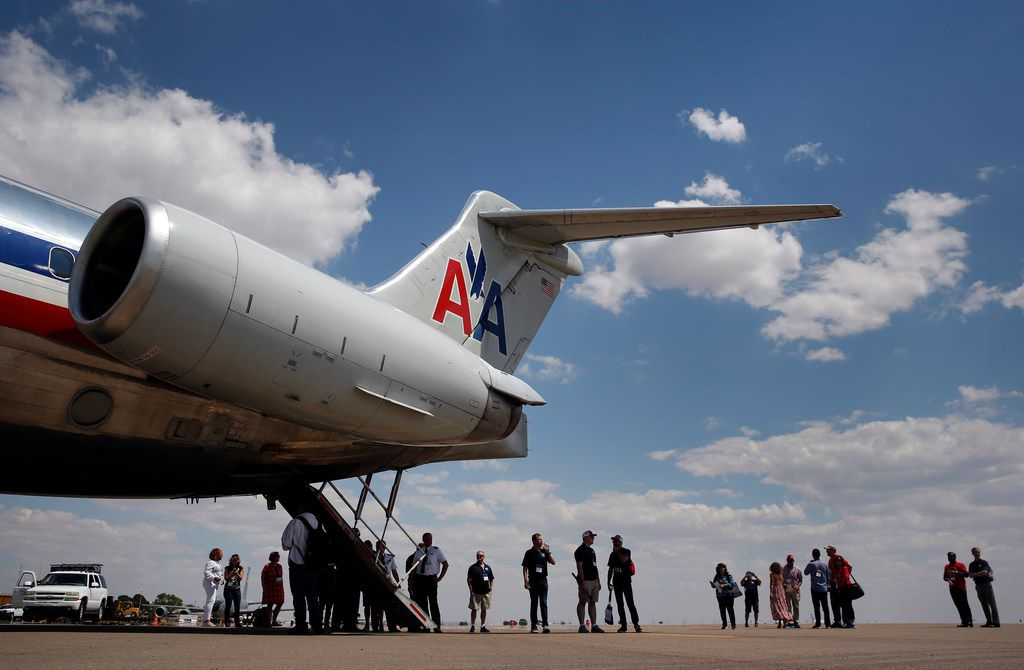 An American Airlines MD-80 was on display at Roswell International Air Center.