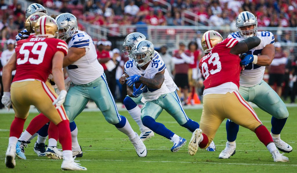 Dallas Cowboys running back Tony Pollard (36) finds a hole during the first quarter of an NFL preseason game between the Dallas Cowboys and the San Francisco 49ers on Saturday, August 10, 2019 at Levi's Stadium in Santa Clara, California. (Ashley Landis/The Dallas Morning News)