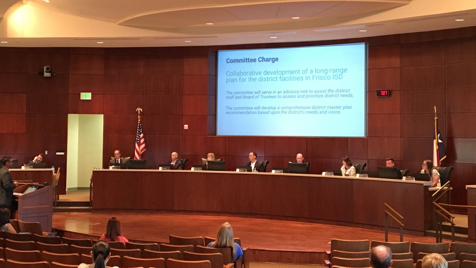 Committee co-chair Sean Heatley (far left) explained recommendations for the proposed $695 million bond measure to Frisco ISD board members on Thursday.