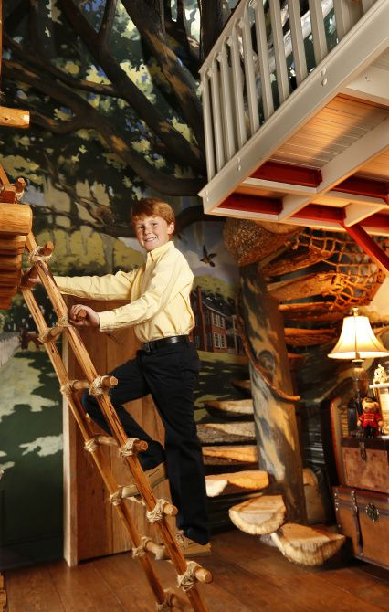 "Klyde Warren, at home in his treehouse-themed bedroom, says he looks forward to playing in the park named for him and ""watching other people play in the park."""