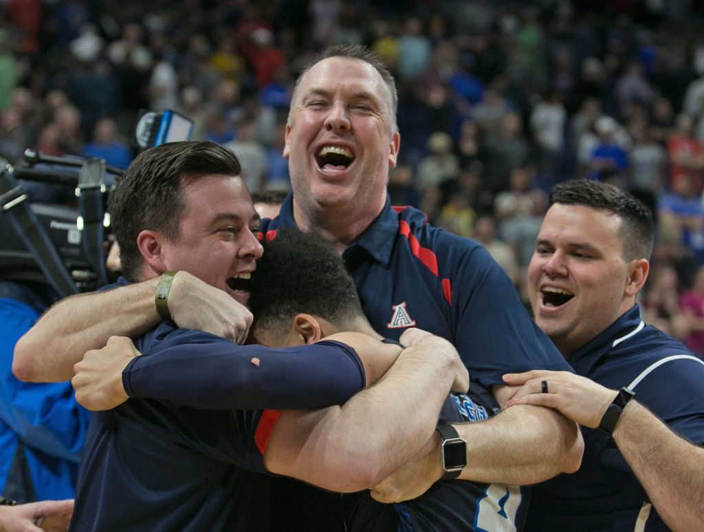 Jeffrey McCullough head coach for Allen ,C, celebrates their victory. Kathy Tompkins vs Allen in HS6a Finals on Saturday, March 10, 2018 at the Alamodome.  (Ronald Cortes/Special Contributor)  ORG XMIT: 00025153A