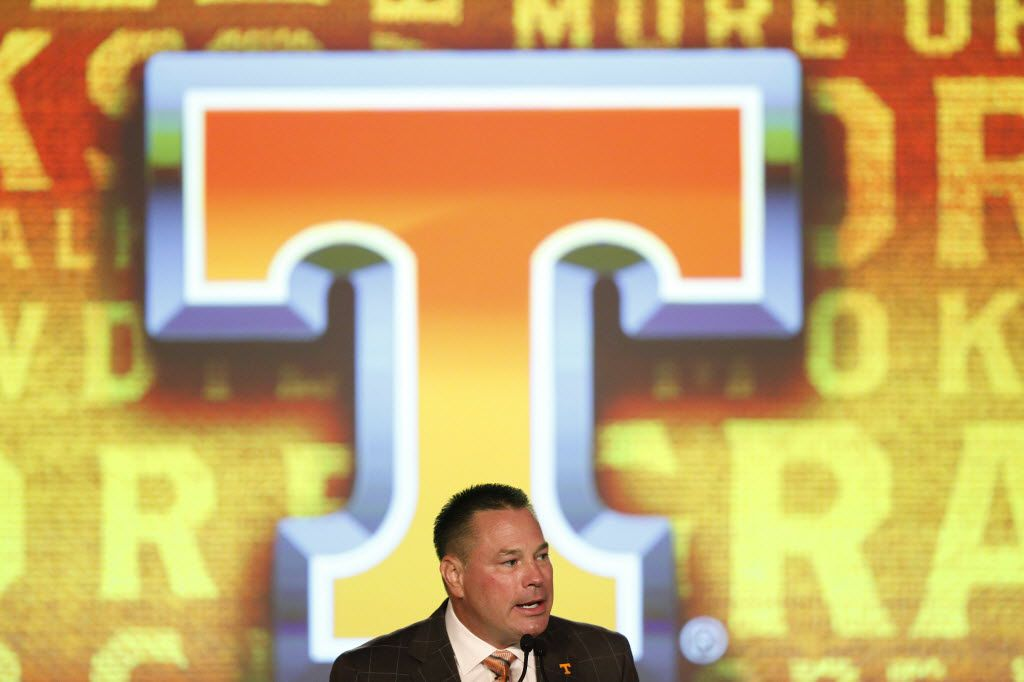 Tennessee coach Butch Jones speaks to the media at the Southeastern Conference NCAA college football media days, Tuesday, July 12, 2016, in Hoover, Ala.