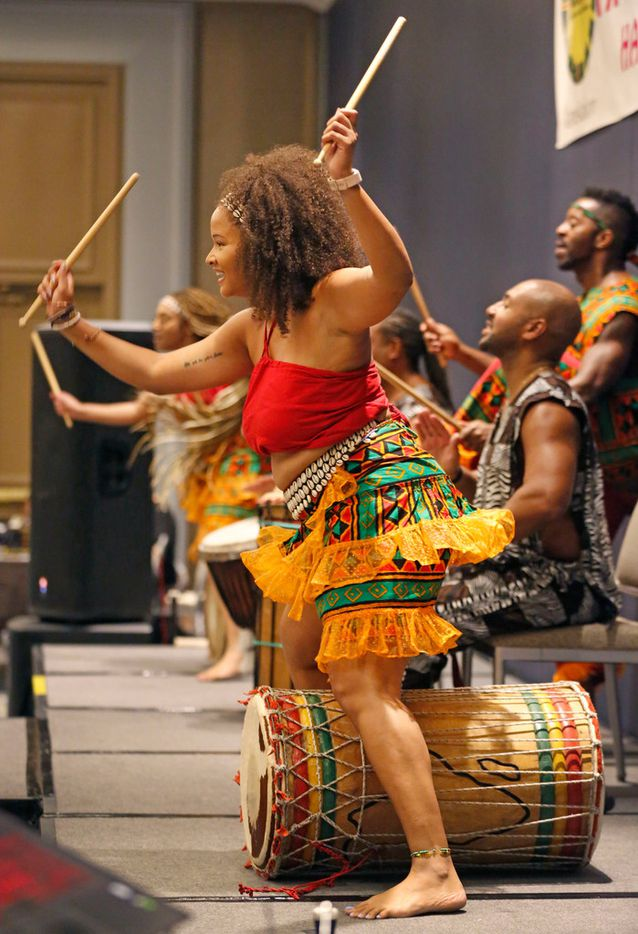 An African drum & dance ensemble performs during the Afrolicious Hair and Beauty Expo at the Dallas Westin Park Central in north Dallas on Sunday, August 5, 2018.