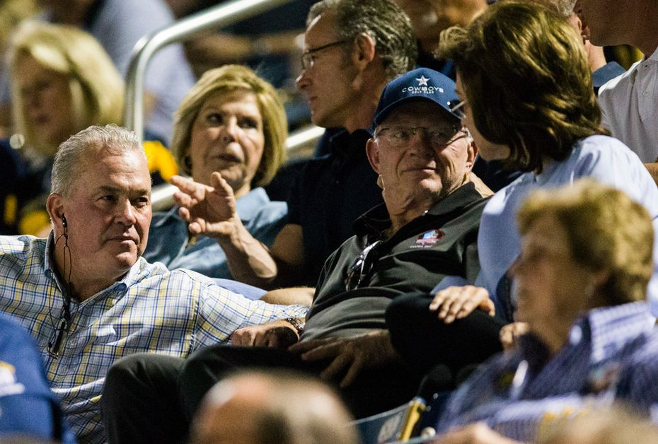 Dallas Cowboys Executive Vice President and CEO Stephen Jones, Dallas Cowboys owner and general manager Jerry Jones and his wife Gene Jones, right, sit in the stands during the first quarter of a high school football game between West Mesquite and Highland Park on Friday, October 13, 2017. (Ashley Landis/The Dallas Morning News)