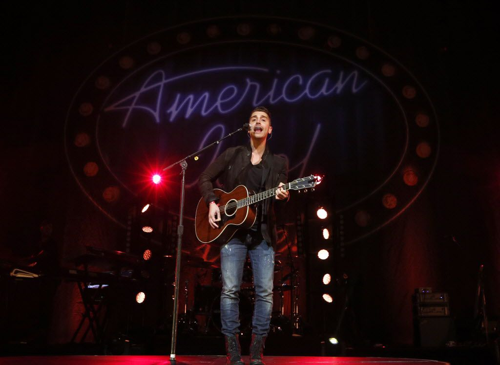 Nick Fradiani performs during American Idol Live at the Verizon Theatre in Grand Prairie, Texas on Aug. 12, 2015.