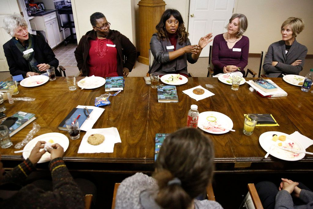 Laurel Bush (center) speaks during a discussion about Little Fires Everywhere by Celeste Ng during the Multicultural Women's Book Club meeting at the Dallas Institute of Humanities and Culture in Dallas in November.