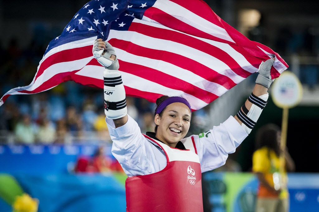 FILE - Jackie Galloway of the United States celebrates after beating Gwladys Epangue of France in a women's over 67-kg bronze medal Taekwondo event at the Rio 2016 Olympic Games on Saturday, Aug. 20, 2016, in Rio de Janeiro. (Smiley N. Pool/The Dallas Morning News)