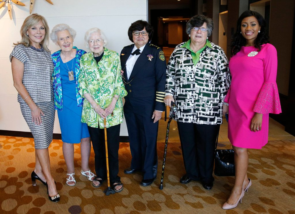 From left: Madeline McClure,  Vivian Castleberry, Ginny Whitehill, Dallas County Sheriff Lupe Valdez, Hind El Saadi El Jarrah and Cynthia Nwaubani posed for a portrait at the Dallas Women's Foundation Leadership Forum and Awards Dinner VIP reception at the Omni Dallas on May 9.
