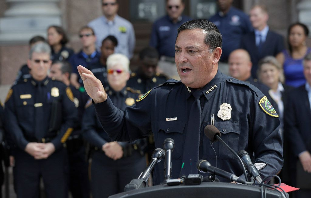 "Houston Police Chief Art Acevedo and other law enforcement take part in public safety event where they spoke against a proposed ""bathroom bill,"" Tuesday, July 25, 2017, in Austin, Texas. The Texas Senate has revived a bill mandating transgender Texans use public restrooms corresponding to their birth-certificate genders. (AP Photo/Eric Gay)"