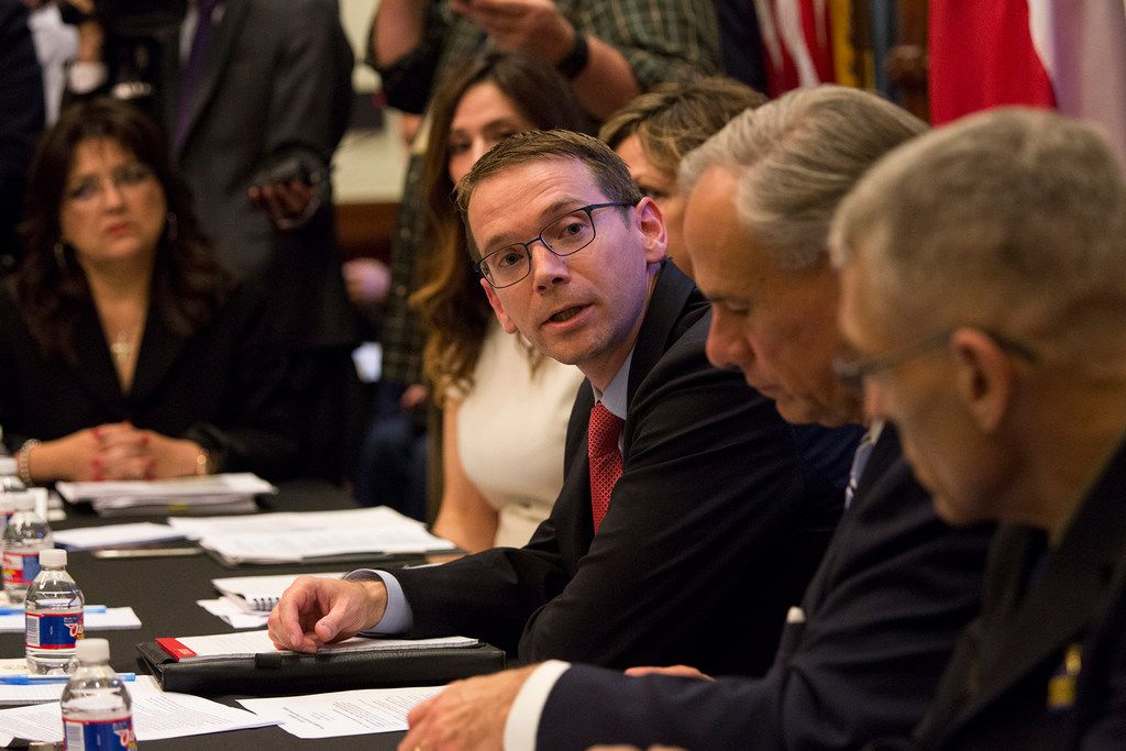 """The State Auditor's Office on Tuesday criticized the Texas Education Agency's handling of two multi-million-dollar contracts -- one, affecting special education students.  Commissioner Mike Morath, center, shown during a May roundtable on school safety at the Texas Capitol, said he's  launched a """"a top-to-bottom review of contract processes."""""""