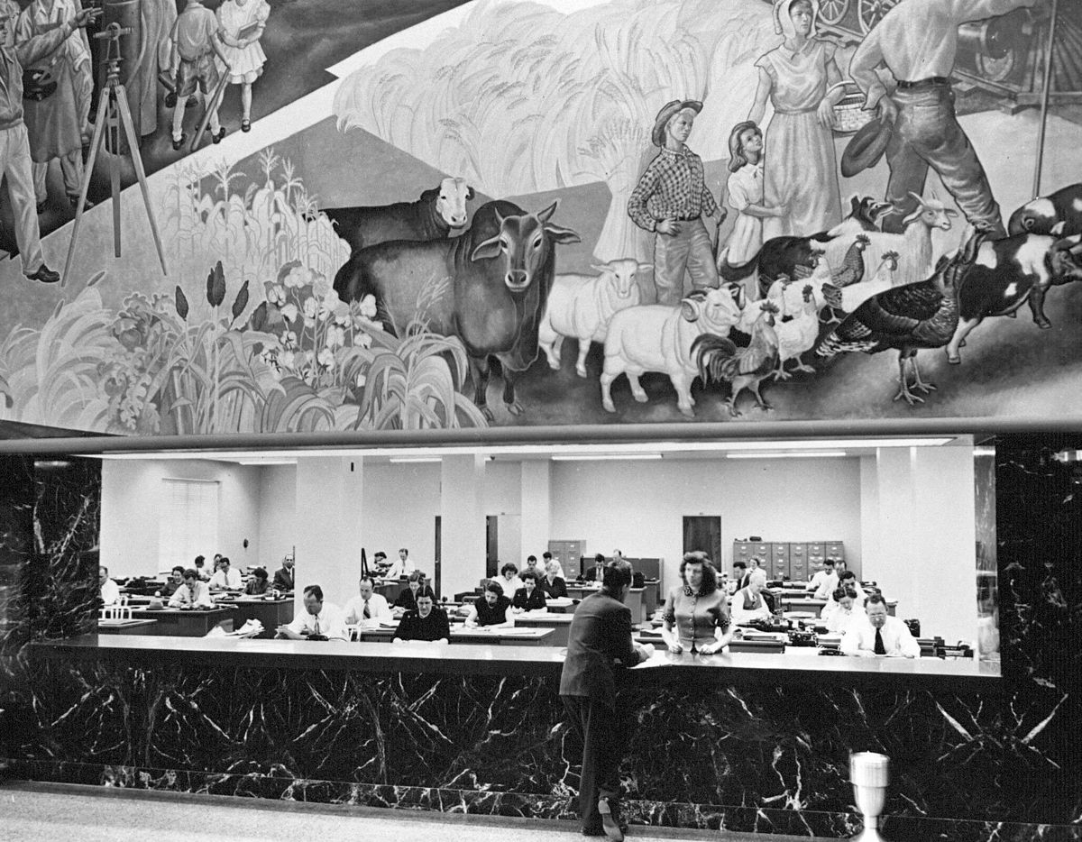 Lobby of The News building during the 1950s.